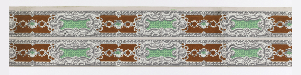Molded bead edgings bracket a wide central design of rococo cartouches with plain diamond diaper centers connected by chains which have a quatrefoil as their center link. Printed in brick-red flocking, grays, white and greens over a pink base coat.  H# 188
