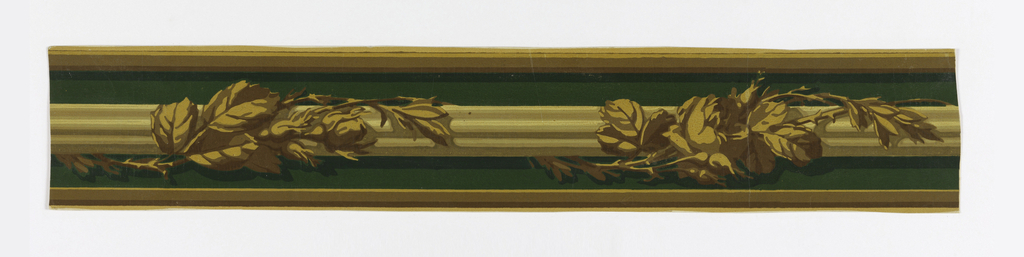 The design consists of a fluted rod wrapped with rose branches against a shaded background and with striped edging. Printed in green, yellow, ochre and brown.  H# 144