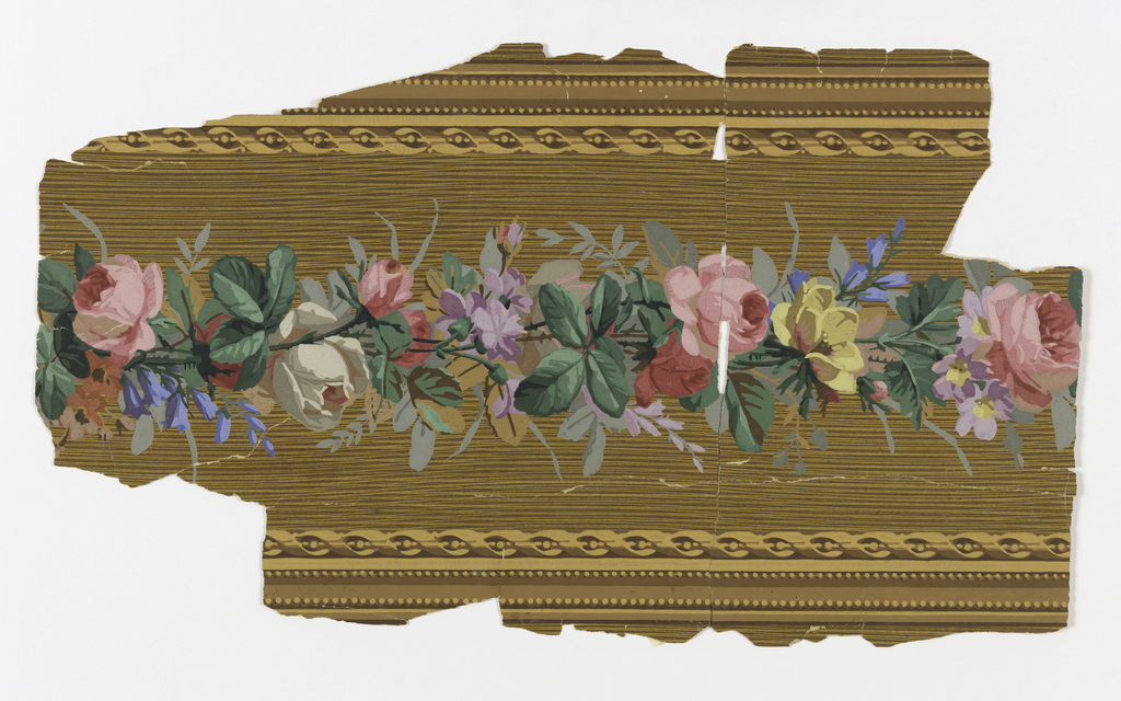 Floral band running down center, with a ribbon-twist on either side. Printed on a wood-grained ground.