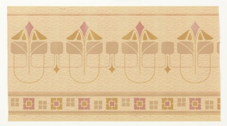 Large-scale upper band of stylized floral motifs. Larger, pointy motifs alternate with smaller square motifs. Band of square motifs along bottom edge. Printed in tan, pink and olive green on mottled tan background.