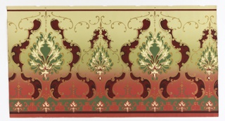 large-scale foliate medallion alternating with smaller medallion. Separate band of motifs run along bottom edge. Printed in deep red, green, white and metallic gold on background that shades from green at the top to burgundy at the bottom.