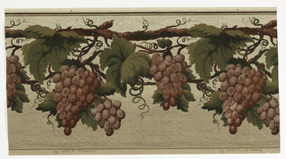 Large-scale bunches of deep red grapes hanging from vines. The entire design is overprinted with thin, horizontal wavy black lines and metallic gold pin dots.  The background color shades from a pale yellow at the top to a greenish-taupe at the bottom. The pattern number is 3004.
