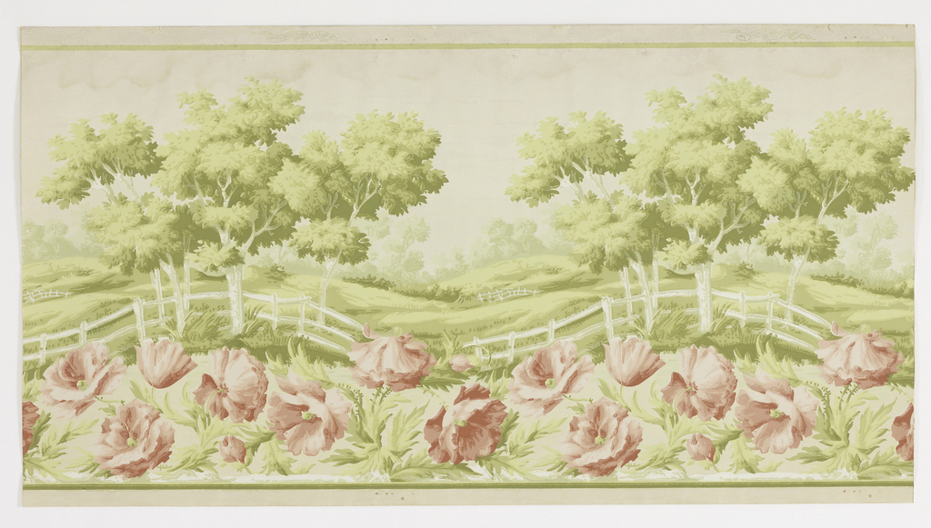 Landscape frieze, with trees and rolling hills in background, and large-scale pink flowers, probably poppies, and white picket fence in foreground.
