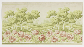 Landscape frieze, with trees and rolling hills in background, and large-scale pink flowers and white picket fence in foreground.