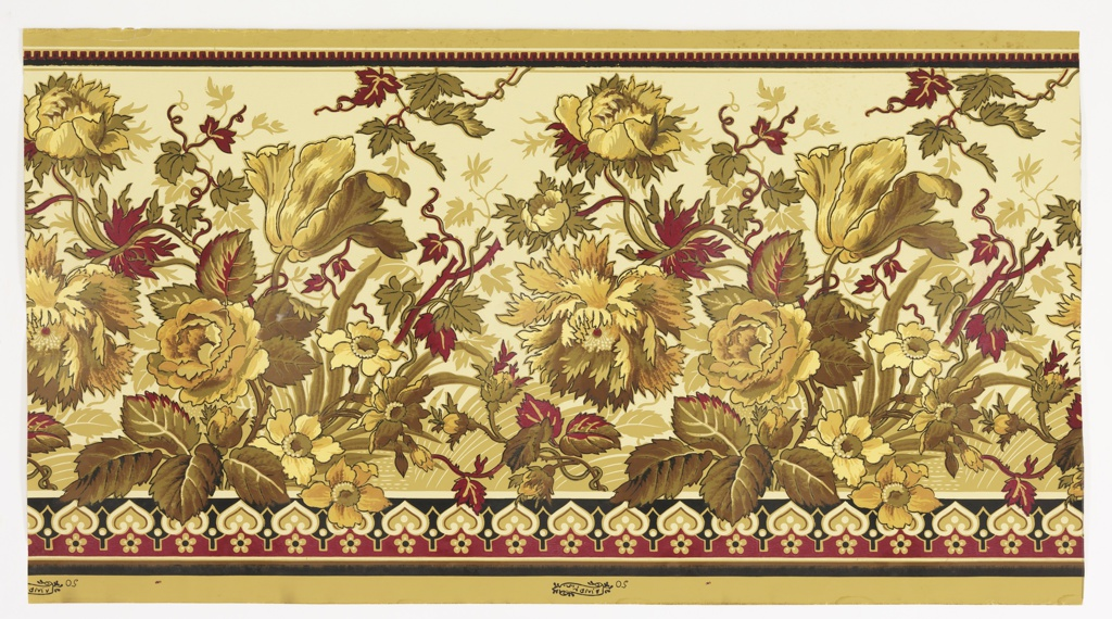 Anglo-Japanesque or aesthetic-style. Large-scale flowers on stems fill the entire surface area, from bottom to top. Printed in red, tan, brown on tan ground. Narrow band of molding along bottom edge.