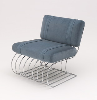 Chair (a/c) comprising curved tubular steel elements with thick, rectangular back and seat cushions upholstered in aqua-colored fabric. Ottoman (d,e) composed of oval bent tubular steel elements topped by a thick rectangular cushion also upholstered in aqua colored fabric.