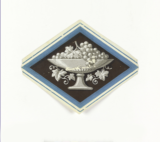 Horizontal lozenge; outlined in blue and white reserve stripes, enclosing black field against which is a cyclix with grapes printed in grisaille.