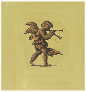 Lone figure of a putto blowing two horns. Printed in shades of orange on a mustard-yellow field,