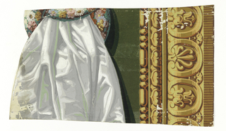 Vertical rectangle. Portion of a frieze with simulated carved architectural moldings across bottom. Above, portion of two floral wreaths through which passes white satin drapery shaded in greys and green. The top edge of the drapery has been cut out.