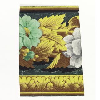 Floral border with green and white flowers, above band of acanthus leaves and pearls printed in shades of ocher.