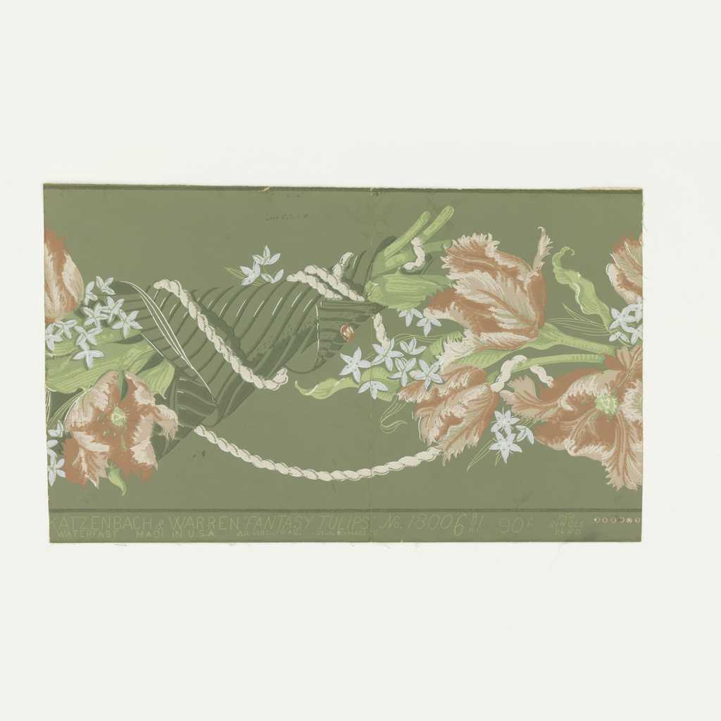 Bouquets of flowers wrapped in paper and tied with cord. Printed in red, pink, blue, dark and light green on medium green ground.