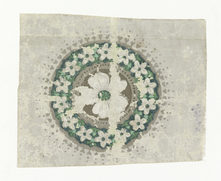 Design consists of a single circular medallion containing a five petalled flower in off-white with a green center. This center motif is enclosed with a similar flower with green centers but in a smaller scale. There are fourteen flowers in this outer band which in turn has a tiny heart and dat border in putty color.