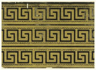 Three borders printed across width of paper; Greek key design printed in black on embossed gold ground.