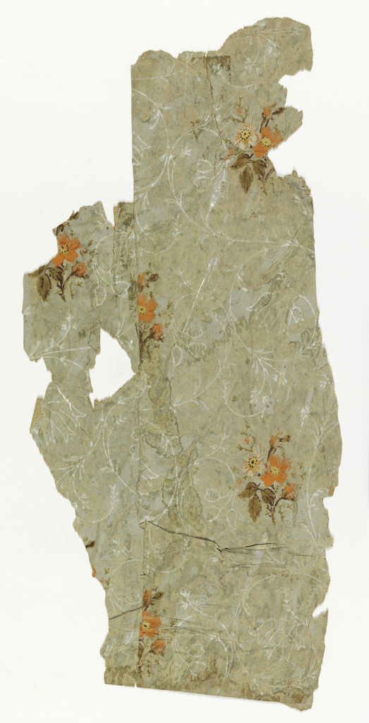 Single motif of a small cluster of white flower and orange flowers in drop-repeating arrangement. Fine white tendrils make an all-over pattern on the ground. Adhering to the back of this paper were found fragments of a newspaper which semed to recount events of the 1790s.