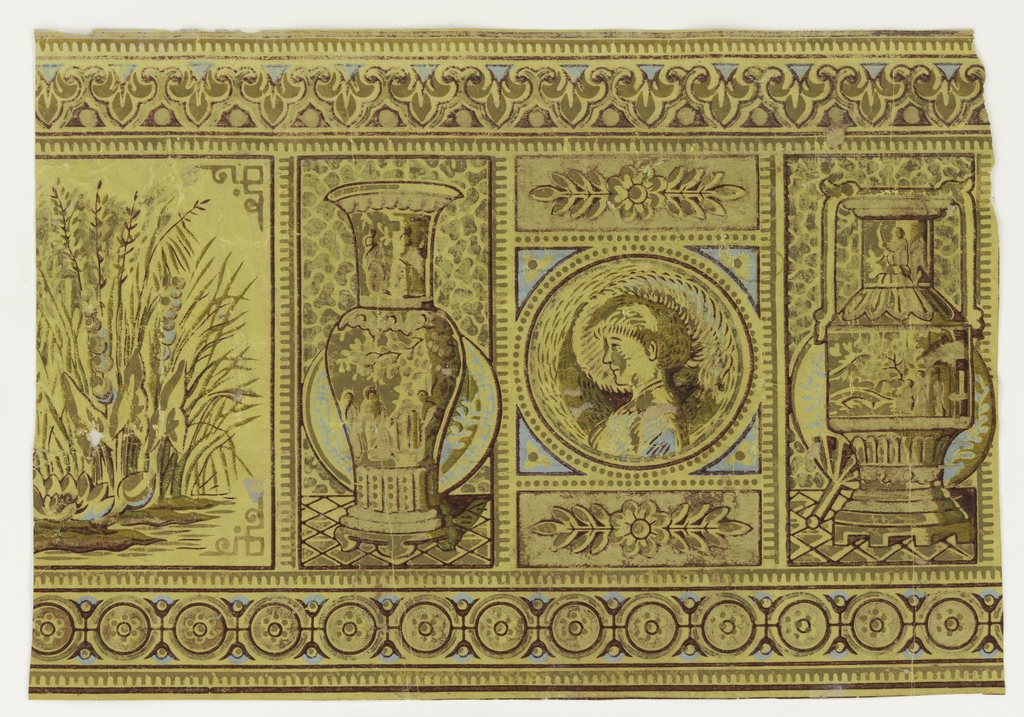 Anglo-Japanesque sidewall and border: a) Sidewall, center motif of terrace with peacock; surrounding it, Japanese decorative motifs. Original gray ground washed off, leaving wrinkled yellow paper as ground; b) border, portrait medallion and urns between border, on yellow ground.