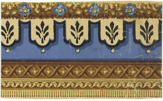 This border consists of bands of varied patterns. At the bottom edge is a band of dentilling below a wave pattern, which in turn is below a narrow band of alternating X's and four-petalled flowers. The upper half of the border is occupied by two bands: a wider one of floral motifs on a lambrequin, and the top edging of a foliage background decorated with simple rosettes. Printed is blue, shades of yellow, apricot, black and brown. Printed highlights and shadows create a trompe l'oeil effect.