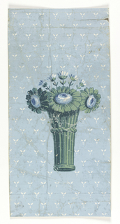 a) Sidewall containing a vase with bouquet. The background is printed with a stylized floral motif forming a trellis pattern. Printed in shades of green, blue and white on a light blue ground.