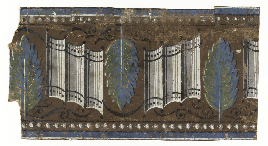 Wide central band of leaves alternating with a grouping of three convex staves. Every second leaf is inverted. There are black scrolls above and below these motifs. Bands of strung beads along top and bottom edges.  H#239