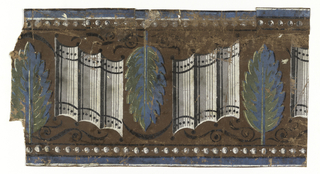 Wide central band of leaves alternating with a grouping of three convex staves. Every second leaf is inverted. There are black scrolls above and below these motifs. Bands of strung beads along top and bottom edges.