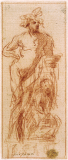 A figure, presumably Bacchus, is shown leaning with his left hand on a column or pilaster. Marsyas is seated in fetters in front. Verso: Figure studies for sculpture: at left: a figure representing a Madonna and Child; center: a kneeling woman; botttom: head and back of a reclining figure; at lower right: a man shown from the front; Top: head and shoulder of a man shown in profile.