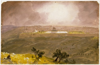 Horizontal rectangle. A part of the hill with two groups of trees and a seated Arab is shown in the left and central foreground. In the right foreground and in the middle distance view across the Valley of Jesophat.