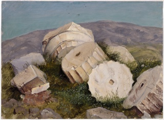 An oil sketch of antique column fragments scattered on a hill, with a purple mountain arching in the distance.