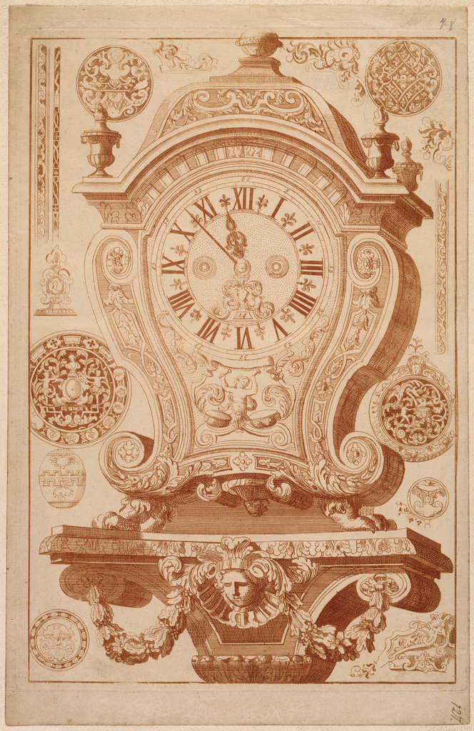 Ornate clock mounted on a pedestal ledge. Ornamental medallions, as well as variations of trim surround.