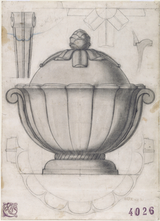 Drawing of elevation of a faience soup tureen with scroll handles on either side of a bowl articulated with scalloped flutes.  The lid is topped by a pine cone finial in the center of radiating leaves.  Details of handles and partial plans in space around elevation.
