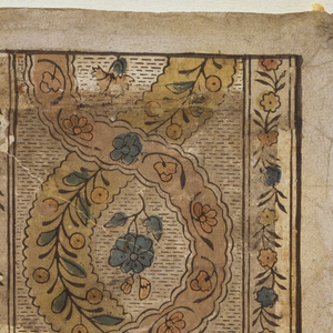 Rectangle, with two bands of floral guilloche against black-rouletted background. To either side, small band with serpentine of flowers and foliage.