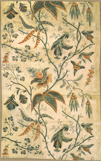 Vertical rectangle of joined sheets of paper. Large flowing design of foliage and flowers in the manner of Jean Pillement's Indian design. Printed in orange, blue, and greens.