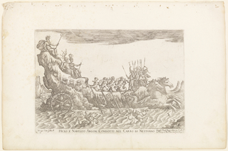 Print, Hiclo e Naucleo argon. condotti nel carro di Nettuno, from from Vessels of the Argonauts for the wedding celebration of Cosimo de' Medici in 1608, plate 10, 1608