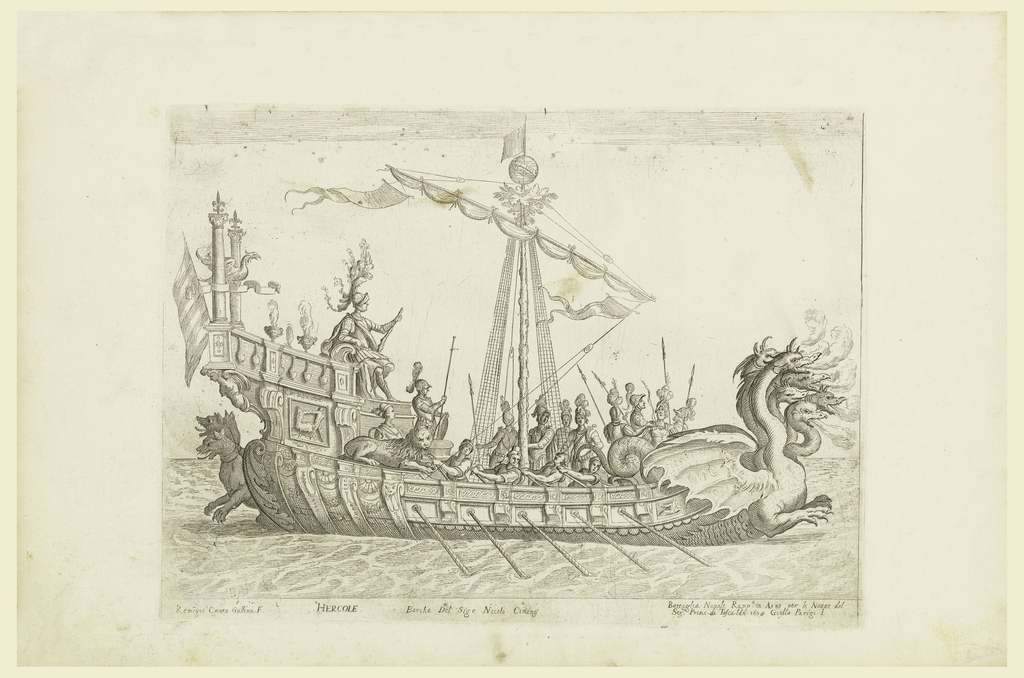 Print, From a Series of Naval Battles for Wedding Festivities of Cosimo Il de'Medici, Ship of Heracles