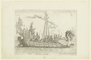 Profile of a ship decorated with ornamental banding, moving left to right.  The figurehead decorated with the Hydra and the stern decorated with Cerberus.   Soldiers stand on the deck of the ship and Heracles sits towards the right.