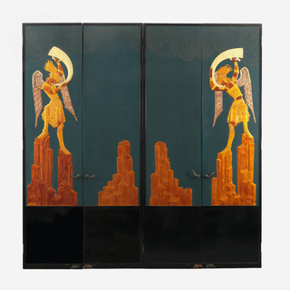 Against a dark green background framed in black above a black reserve which occupies the lower quarter of the door face, a design of a standing trumpeting angel facing the observers right and surmounting a complex of rocks. Rocks and angel in various tones of gold, wings of angel inlaid with egg shell, head-dress with mother of pearl. Door, black on reverse, fitted with scimitar-shaped pull, spring hinges, and floor stop.
