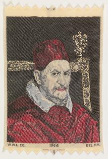 Souvenir Ribbon Portrait, Portrait of Pope Innocent X (1650) by Diego Velázquez (1599-1660)