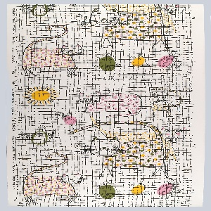 Designed for children, abstract depictions of cats and canaries behind a grid design. Printed in pink, yellow, green and black on a white ground.