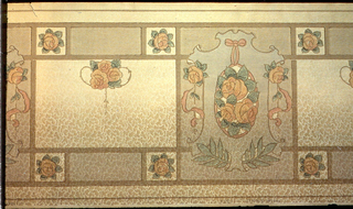 Mission Syle. Divided into square and rectangular panels. Large square panels have a medallion with a hanging pendant of stylized roses, ribbon, leafy laurels. The rectangular panels have small floral bouquets with vining, bordered by individual stylized roses. Background has blotchy cloud-like pattern that reveals the ground shaded from dark green brown to cream (now faded). Printed in pinks, greens, blue, pink orange, green brown and beige. 