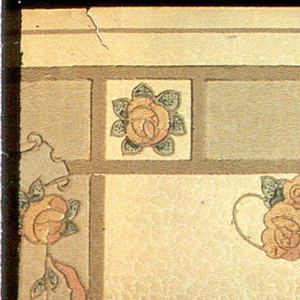 """Mission Syle. Divided into square and rectangular panels. Large square panels have a medallion with a hanging pendant of stylized roses, ribbon, leafy laurels. The rectangular panels have small floral bouquets with vining, bordered by individual stylized roses. Background has blotchy cloud-like pattern that reveals the ground shaded from dark green brown to cream (now faded). Printed in pinks, greens, blue, pink orange, green brown and beige.  Piece reattached in the upper left corner.  Printed in bottom selvedge: """"York Card & Paper Co."""" """"1366"""""""