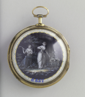 Circular gold case having stem with small ring at top; front with circular white face with roman numerals in black and blued steel(?) hands, the whole surrounded by a narrow off-white enameled band with gilt and green lozenge decoration. Reverse shows grisais scene of a couple in a verdant garden, the gowned woman in the foreground standing near a caged bird on a table, the man to the left and behind a low wall or fence, serenading her with a lute.