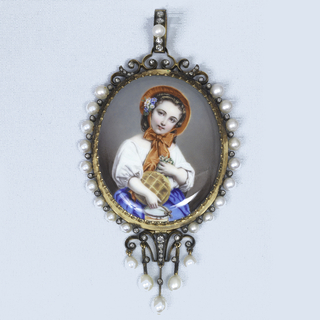 Enamel-painting of a young girl in a bonnet in a white blouse and blue shirt, holding flowers in her left hand and a jar and cake in her right.  Mounted in a gold frame with five pendants and ring, all ornamented with pearls and rose diamonds.