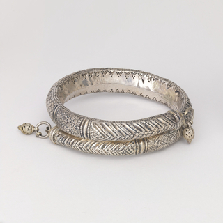 Silver bracelet, chased