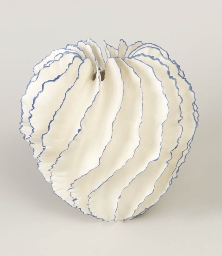 grey-white spiral-ruffles in extremely thin pinched porcelain with blue glazed edges and biscuit exterior surrounding a narrow glazed opening