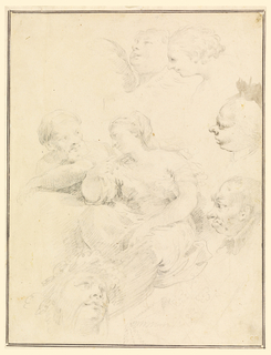 Group of women seated speaking to a man; bust of man in the left center. It is surrounded from top center to lower left by a cherub, a girl's head, two caricatural men's heads, a lozenge ornament, a head of Dionysos.