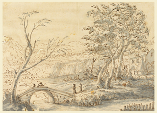 Mountainous country with a town at left in the middle ground. In the foreground is a brook, over which leads a bridge at left. Two persons approach it, a rider and a pedestrian are upon it. At right is a farm with trees in front.
