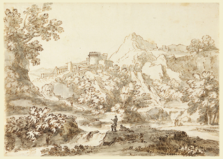 Mountainous country with figures beside a small waterfall in the foreground. In the background, a town with a crenelated castle before a looming outcrop.