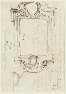 "The upper with the escutcheons for the coat of arms: above of the pope, below of a prelate. The other sketches include the architectural forms of the upper part of the frame, some figures of accounting. On verso, the beginning of a draft of a letter by the artist: ""Carissimo amico, e Rue. Shmatissimo Verrà da Voi il mio Cognato Agostino, e vi porterà da mia parte 1(i) / quarto occhi di Gatta (jewels), desidererei in primo Luogo""…[etc.]"