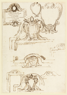 Three of the sketches refer to a tablet with coat-of-arms of Pope Benedict XIV (1740–58) and below those of a prelate. Two escutcheons; papal escutcheon for a frame; three frames with a shell in the center above.