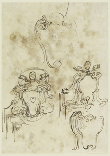 """One of the escutcheons indicated as that of Pope Clement XIII (1758-69). On verso in artist's handwriting: """"In questo punto a mandar e Lavon;"""" five partial triangles in a vertical row."""