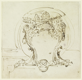 Sketch for an escutcheon with papal symbols.