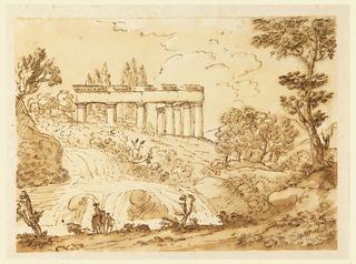 Landscape view. The upper parts of the columns and the entablature of two sides are shown over the horizon. Mountainous country with a waterfall, beside which two men are shown, one on horseback.